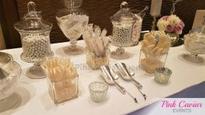 silver and white candy buffet wedding WM