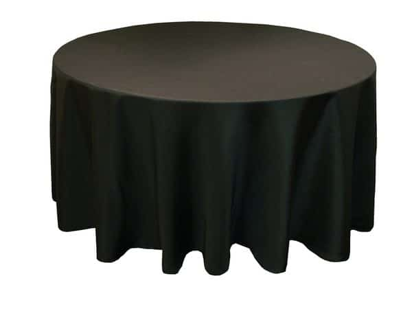 Polyester Round Table Cloth - Black 3m 120inch