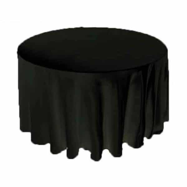 Satin Round Table Cloth - Black 3m 120inch
