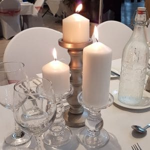 Glass Pillar Candle Pair
