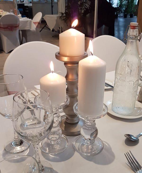 Glass Pillar Candle Pair