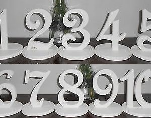 Table Numbers White