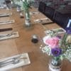 Hessian Table Runner with Mason Jars and Flowers