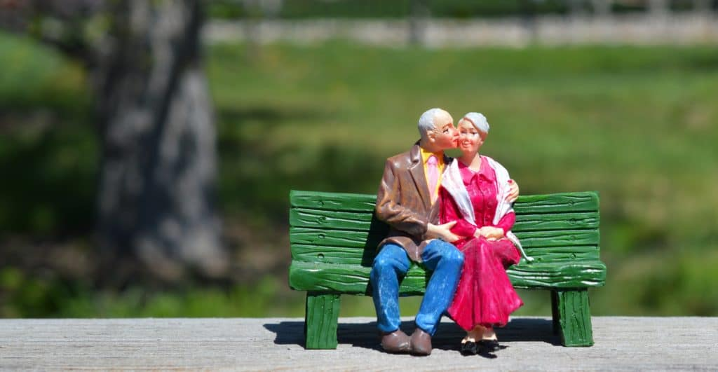Not My First Wedding: Mature Couple On A Park Bench