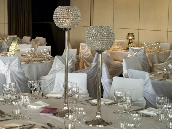 Tall Crystal Goblet Centrepiece Duo