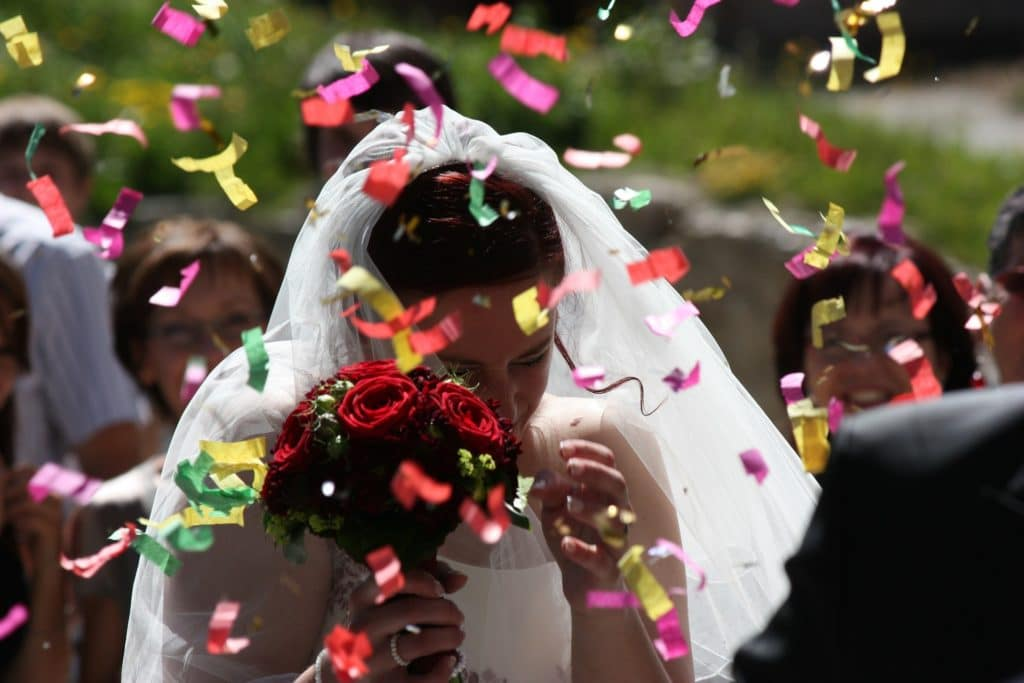 Confetti on wedding day - wedding planners colourful