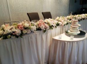 Bridal Table Flower Runner Wedding Cake