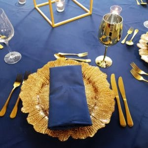 Navy and Gold Charger Plate Gold Cutlery Glassware Napkin