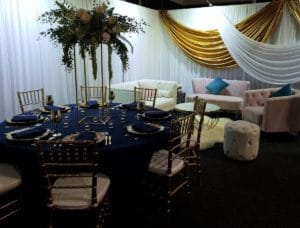 Navy & Gold Table Centrepiece Lounges