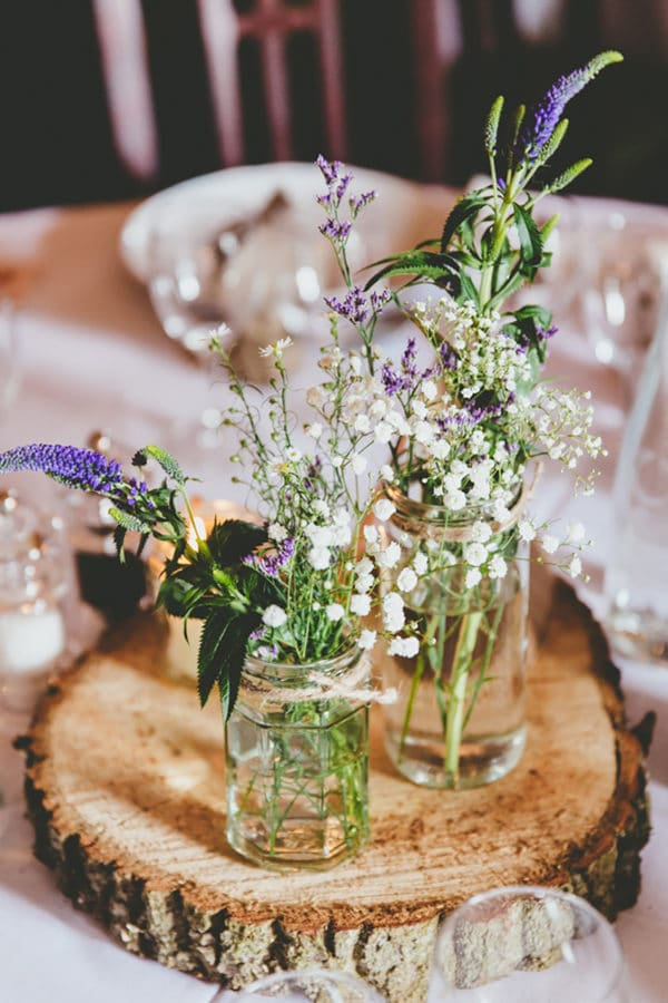 Rustic Flower on Timber Slice Centrepiece
