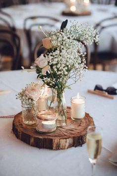 timber slice rustic centrepiece
