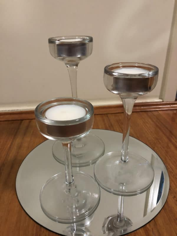 Glass Trio Candle Holder on Mirror Base