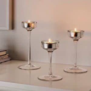 trio of glass candle holders centrepiece