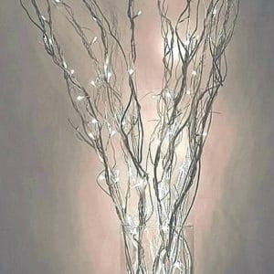 Silver Willow with LED fairy lights in glass vase