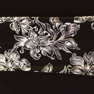 Lycra Band - Metallic Silver Florals & Black