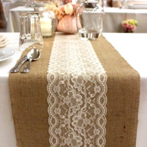 Hessain Table Runner with Lace