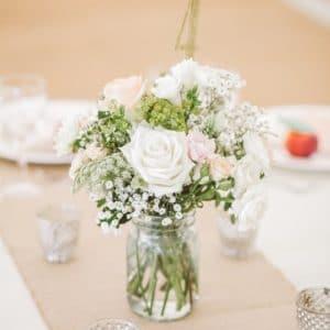 Clear Mason Jasr with Flowers