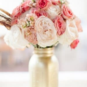 Gold Mason Jar with Flowers