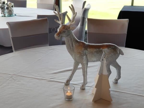 Silver Glittered Reindeer with White Christmas Tree