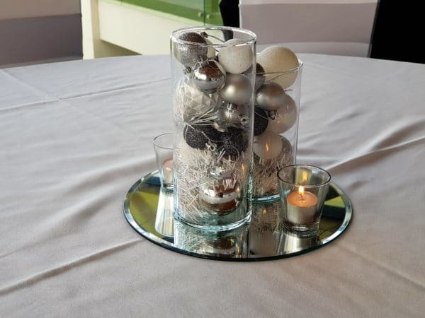 Silver, White and Black Baubles on Mirror Base