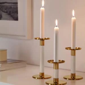 Gold and White Tapered Candle Set