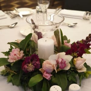 Hurricane Vase with Pillar Candle and Flower Wreath Centrepiece