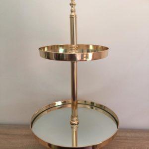 gold cake dessert stand 2 tier