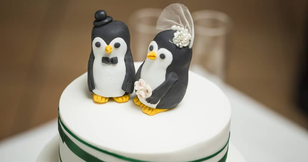 Cute animal cake topper Mr Mrs Penguin wedding