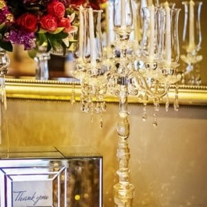5 arm crystal candelabra tall
