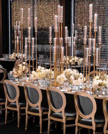 Gold Multi Heighted Candle Centrepiece on King Table