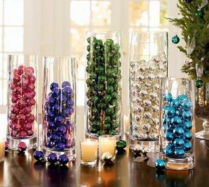 Christmas Baulbles in Clear Vase