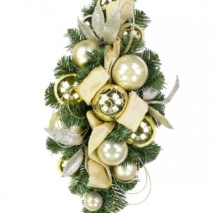 Gold and Champagne with Greenery Bauble Decorated Christmas Centrepiece 60cm long