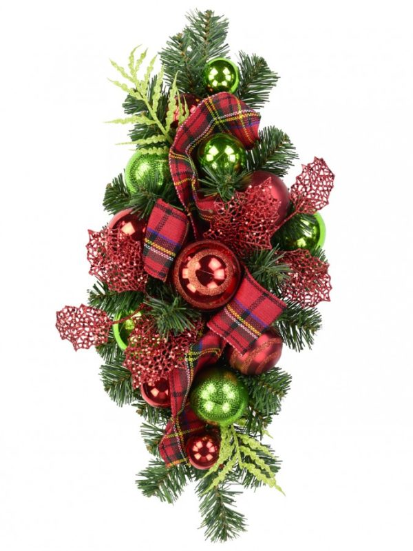 Red and Green with Greenery Bauble Decorated Christmas Centrepiece 60cm long