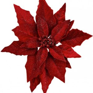 Red Poinsettia Glitter Clip Christmas