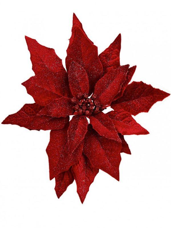 Red Poinsettia Glitter Clip Christmas
