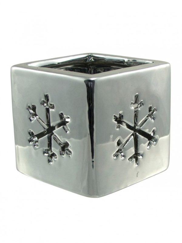 Silver Chirstmas Snowflake Tealight Candle Holder