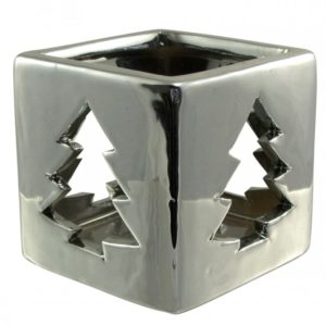Silver Chirstmas Tree Tealight Candle Holder