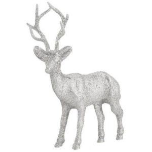 Silver Glittered Reindeer Standing Decor Christmas