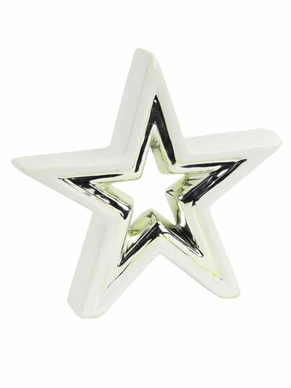 White and Silver Ceramic Star Table Decor Christmas