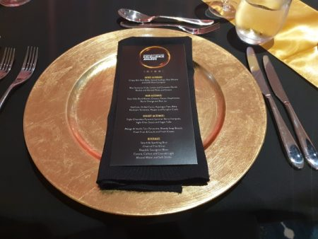 Gold Acrylic Charger Plate with Black Napkin