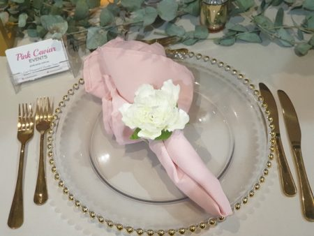 Gold Beaded Charger with Napkin and Gold Cutlery