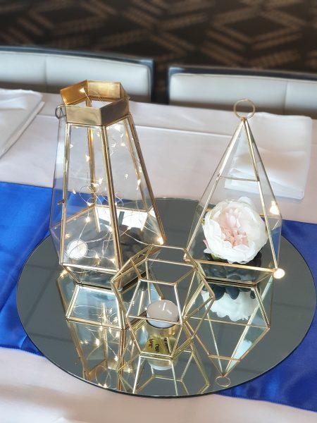 Gold Geo Lanten Set on Mirror
