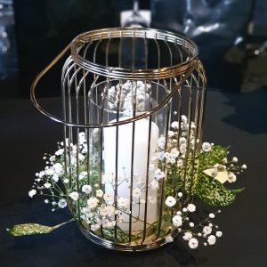Gold Lantern Cage with Babys Breath and Pillar Candle