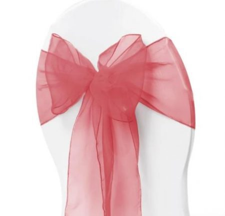 Organza Chair Sash - Coral