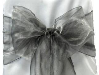 Organza Chair Sash - Dark Silver