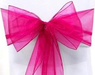 Organza Chair Sash - Hot Pink
