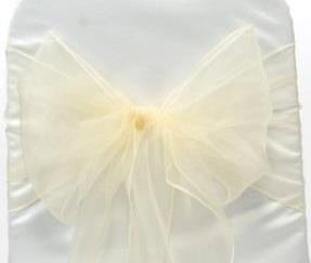 Organza Chair Sash - Ivory