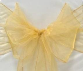 Organza Chair Sash - Light Gold