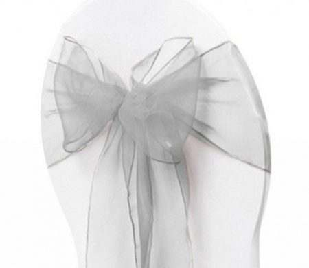Organza Chair Sash - Light Silver