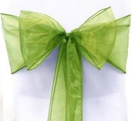 Organza Chair Sash - Olive Green